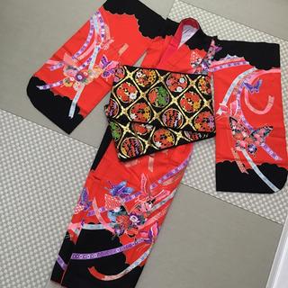 【ネット決済】子供用着物‼️ 7歳の女の子用キモノ&帯(正絹)のセット