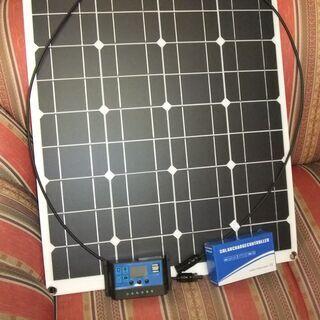 高効率 単結晶 フレキシブル 50W ソーラーパネル20Aデュア...