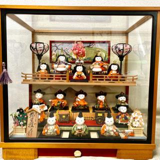 雛人形ケース飾り 木目込 15人飾り ぼんぼり照明 オルゴール付き