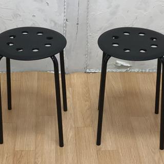 IKEA スツール マリウス ブラック 2脚セット