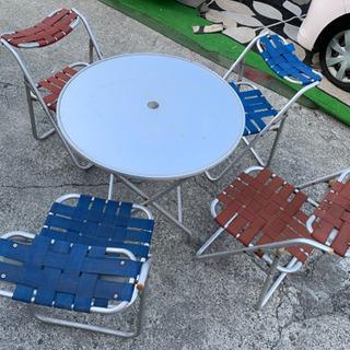 アルミ折り畳みテーブル椅子セット
