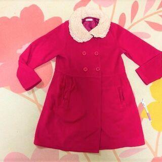 ★美品!!140~150㎝用「GITA(ジータ)」Aラインのおしゃれコート・濃いピンク色★の画像