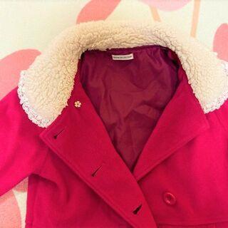 ★美品!!140~150㎝用「GITA(ジータ)」Aラインのおしゃれコート・濃いピンク色★ − 山口県