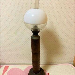 ★アンティーク・高さ78㎝!!白いガラス製のオイルランプ・軸は竹&木製・ランタン★の画像