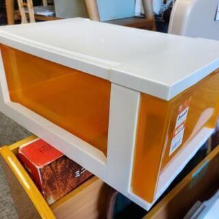 アイリスオーヤマ ストックチェスト ホワイト/クリアオレンジ