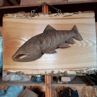 大イワナ 木彫り壁掛けオブジェ