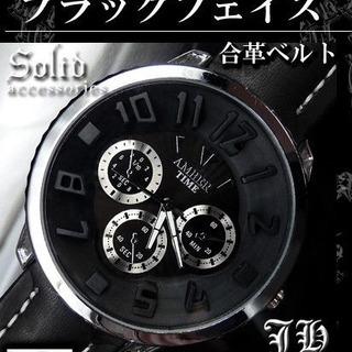 新品未使用 メンズ腕時計 ブラック合革ベルト カジュアルフ…