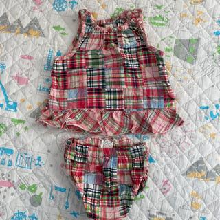 赤ちゃん用 夏服 上下セット チェック柄
