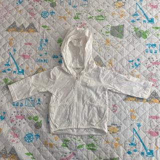 赤ちゃん用 白のフルジップパーカー