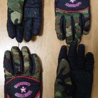 最終値下げ❗未使用に近い美品スキー手袋 6〜7才用 2足セ…
