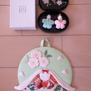 ミニお雛様(土鈴)、ハンドメイドウサギのお雛様 飾り物のセット