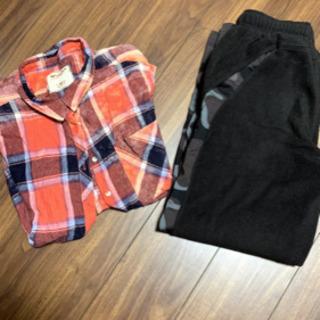 レディース 赤チェック シャツと スエット セット