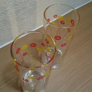 小花柄 ロングペアグラス 2個セット! − 愛知県