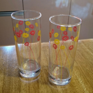 小花柄 ロングペアグラス 2個セット!
