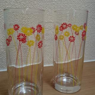 小花柄 ロングペアグラス 2個セット! - 生活雑貨