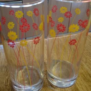 小花柄 ロングペアグラス 2個セット! - 豊川市
