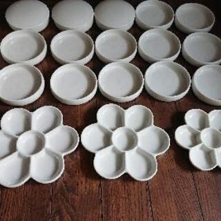 陶器製  画材道具   梅皿パレット  筆洗い  絵画  美術 ...