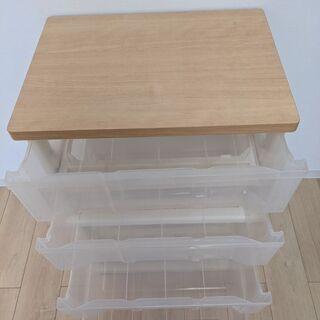 半透明プラスチック 4段収納ケース 木製天板タイプ