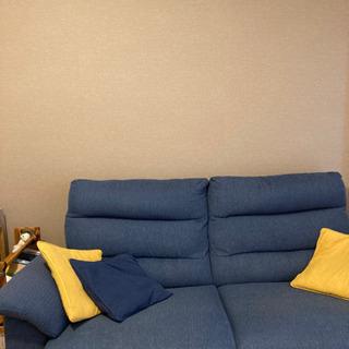 3人掛け大型ソファー(ブルー)
