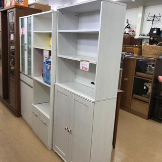 白い木製キッチンボード☆カントリー調☆カップボード☆オープン収納