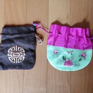 韓国刺繍 お土産 巾着袋 2つセット