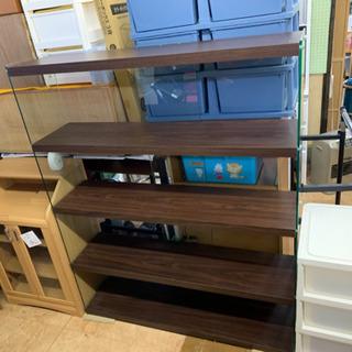 ガラスワイドシェルフ ハコモク 強化ガラス 飾り棚 コレクションボード