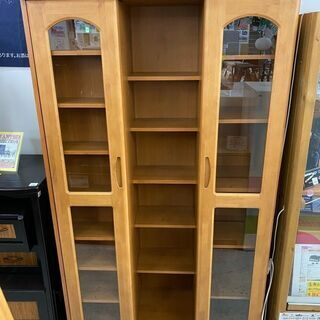【クリーニング&メンテ済】本棚 スライド式 両開き本棚 ブックシェルフ