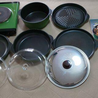 無水鍋セット中古 電気鍋本体・調理本付 箱なし