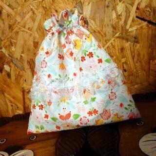ハンドメイド 巾着ポーチ コップ袋 小物入れ 花柄