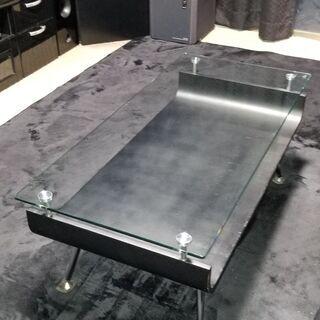 ガラスローテーブル ブラック
