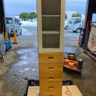 🌈木製ガラス扉付き8段収納棚 小傷有り