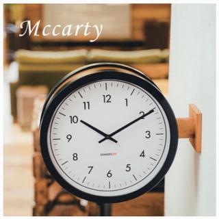 【ネット決済・配送可】マッカーティー 壁掛け両面時計 木目×ブラック