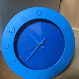 壁掛け時計 青 置き時計にもなります