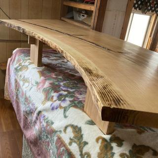 熊本産 杉 銘木ローテーブル 189×W81MAX×板厚4.5c...