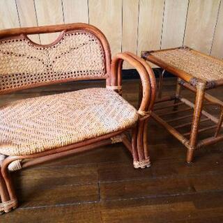 値下げします🤎籐製品座椅子&物置台のセット