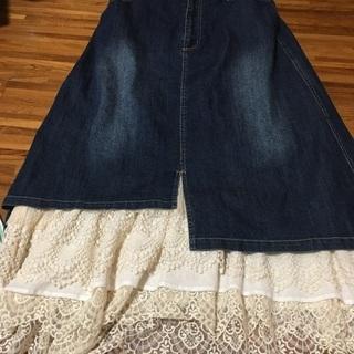 レースたっぷりジーンズスカート