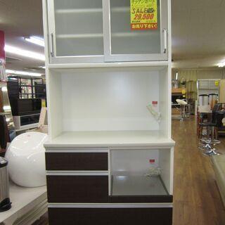 R074 国産 ユーアイ製 キッチンボード、食器棚、幅89cm 美品