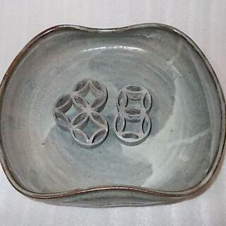 【華道】灰色の鉢/「針なし剣山」付き