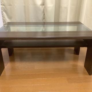 【ネット決済】☆落ち着いたダークブラウンxガラス面板のテーブル☆
