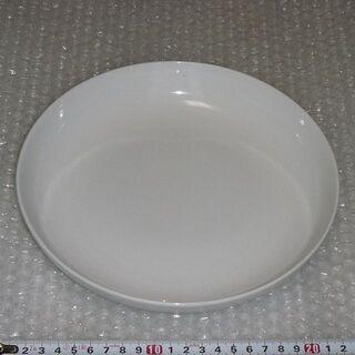 丸い深皿(直径22cm×高4cm、白色無地)【中古】