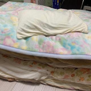 シングル 布団セット 羽毛布団、敷布団、毛布、枕