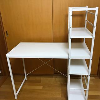 【サンワサプライ】ブックシェルフ付デスク(100-DESKH02...