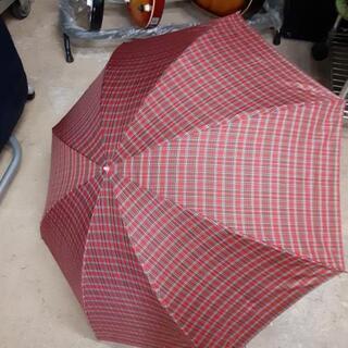 レトロ 赤チェックの折り畳み傘
