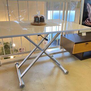 昇降テーブル 東京インテリア購入品 白 高さ調節可 リビン…