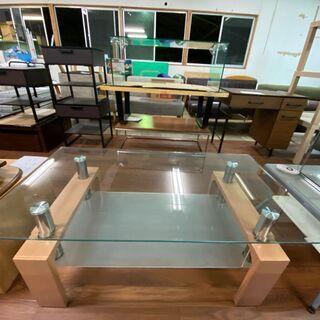 ガラス テーブル ウッド調