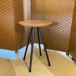 PLUS サイドテーブル 丸テーブル 茶×黒 リビング家具…