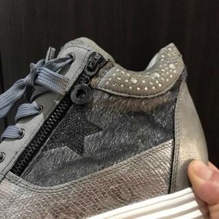 ビジュー付きスニーカー ブーツ ハイカット靴