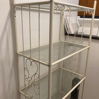 ホワイトフレーム ガラス 5段棚