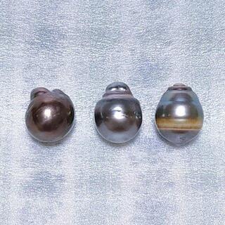 宝石 大きなバロック黒蝶真珠 3個セット【値下げ】