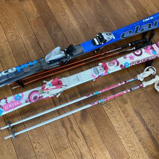 スキー板 子ども用 120cm 130cm ストックの画像